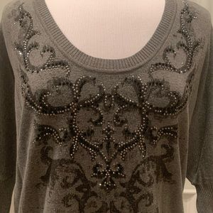 Miss Me Sweater Gray w/ Black & Silver L Large
